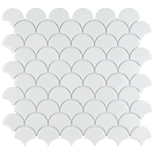 "Picture of Expressions Scallop White 11-1/4""x12"" Glass Mos"
