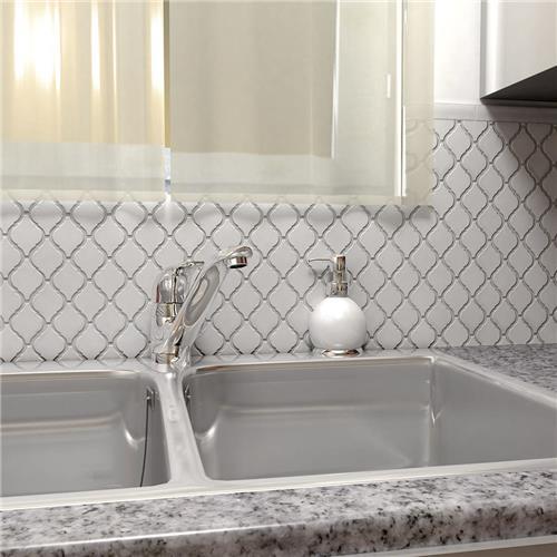 "Arabesque Tiles Kitchen Wall: Arabesque Glossy White 9-7/8""x11-1/8"" Porcelain Mos"
