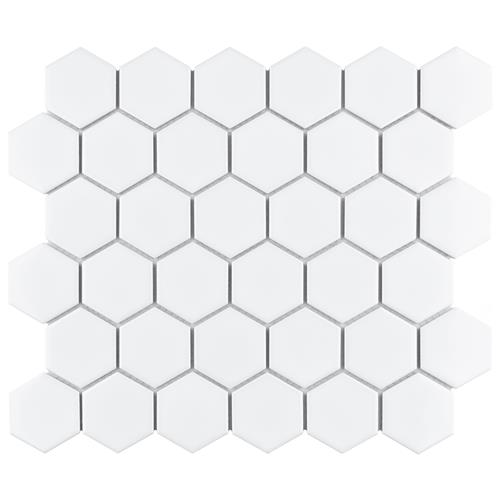"10.5""x11"" Metro Hex 2"" Glossy White Porcelain CA 10"