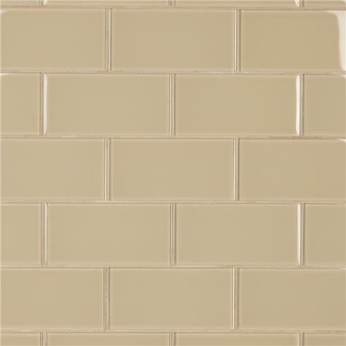 "Picture of Tessera Subway Sandstone 3""x6"" Glass W Tile"