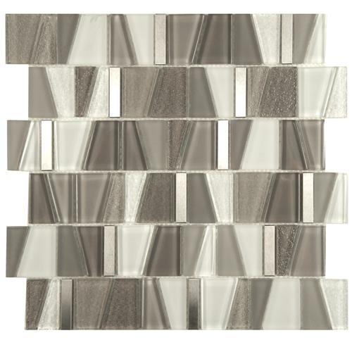 "Picture of Trapezium Grey 11-3/4""x11-7/8"" Glass/Stainless Steel Mos"