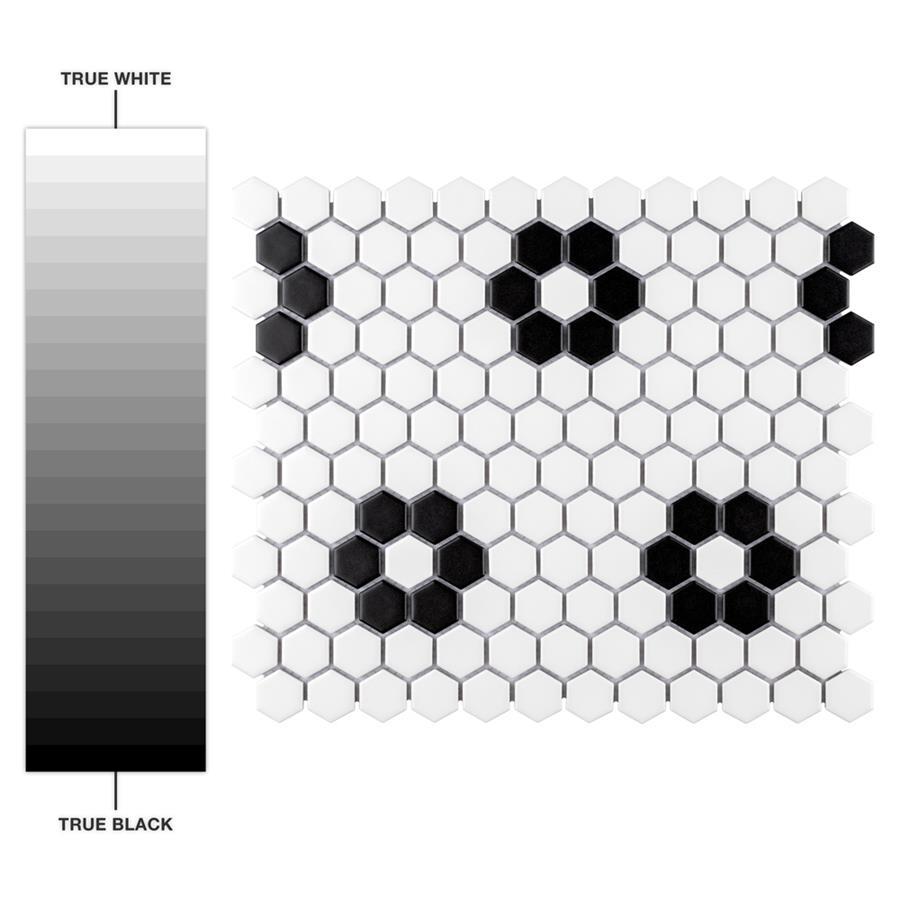 Metro hex matte white wflower 10 14x11 34 porcelain mos dailygadgetfo Images