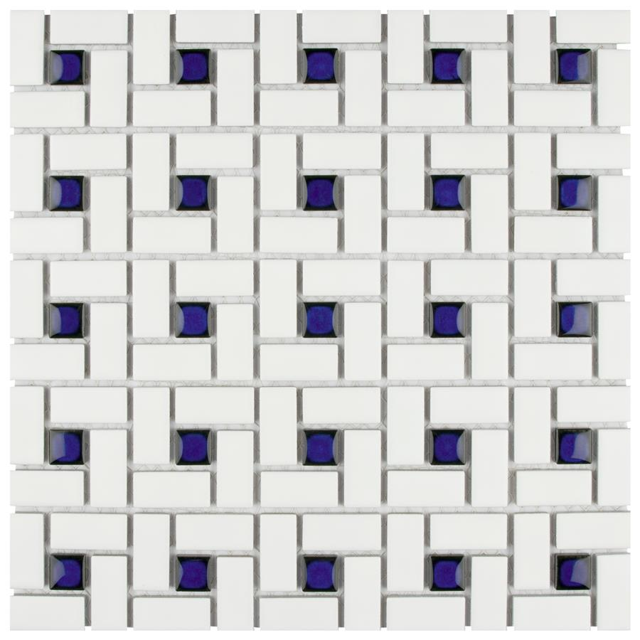 Spiral Blue And White X Porcelain Mos MSP - 6 x 12 white porcelain tile