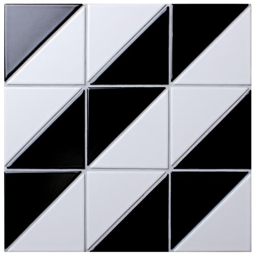 "Tre Super Diagonal Black w/White 10-7/8""x10-7/8"" Porc Mosaic"