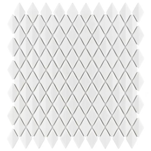 "Expressions Beveled Diamond White 11-5/8""x12"" Glass Mos"