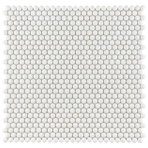 "Expressions Button White 12-1/2"" x 12-3/4"" Glass Mos"