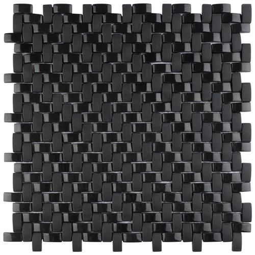 "Expressions Weave Black 12-1/4""x12-1/4"" Glass Mos"