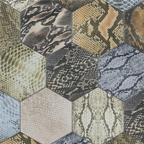 "Reptile Hex Colours Mix 8-5/8""x9-7/8"" Porcelain F/W Tile"