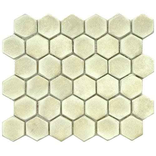 "Cobble Hex Polar 10-3/4""x12"" Ceramic Mos"