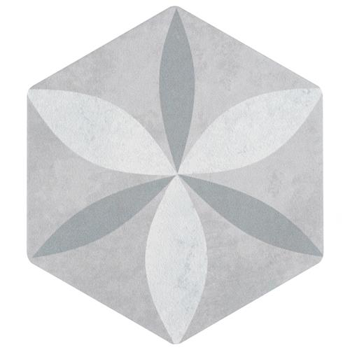 "Odda Hex Decor Stella 5-7/8""x6-3/4"" Porcelain F/W Tile"