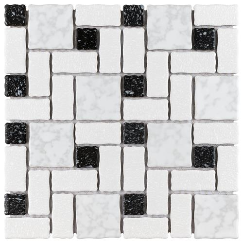 "Academy White and Black 11-3/4""x11-3/4"" Porcelain Mos"