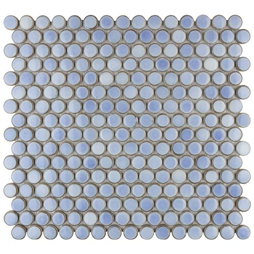 "12.63 x 12"" Hudson Penny Round Frost Blue"