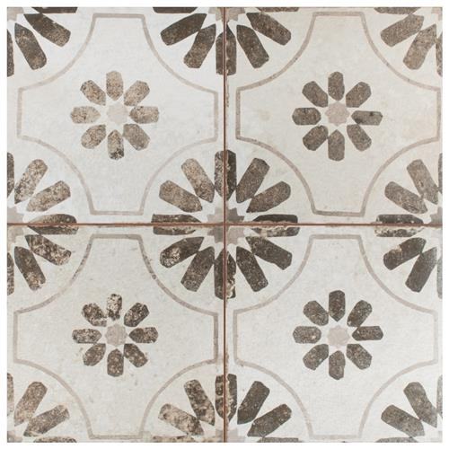 "Kings Blume Nero 17-5/8""x17-5/8"" Ceramic Floor/Wall Tile"