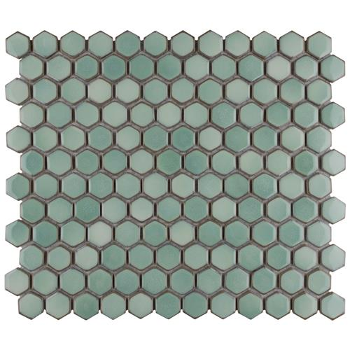 "Hudson Hex 1"" Mint Green 13-1/4""x11-7/8"" Porcelain Mosaic"