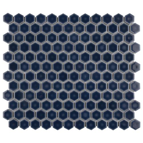 "Hudson Hex 1"" Denim Blue 13-1/4""x11-7/8"" Porcelain Mosaic"