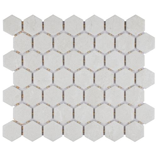 "Liverpool Hex White 10-1/4""x11-3/8"" Ceramic Mosaic"