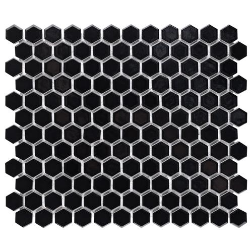 "Chelsea 1"" Hex Glossy Black 10-1/4""x11-7/8"" Porcelain Mos"