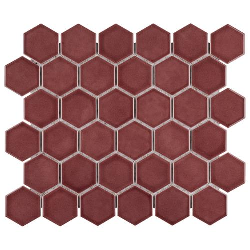 "Tribeca 2"" Hex Glossy Rusty Red 11-1/8""x12-5/8"" Porc Mosaic"