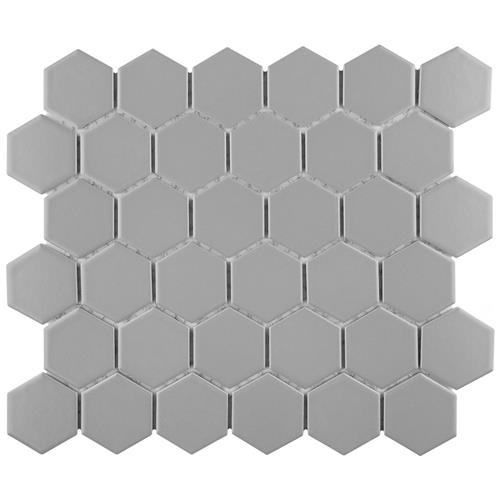 "Metro Hex Matte 2"" Light Grey 10-1/2""x11"" Porcelain Mos"