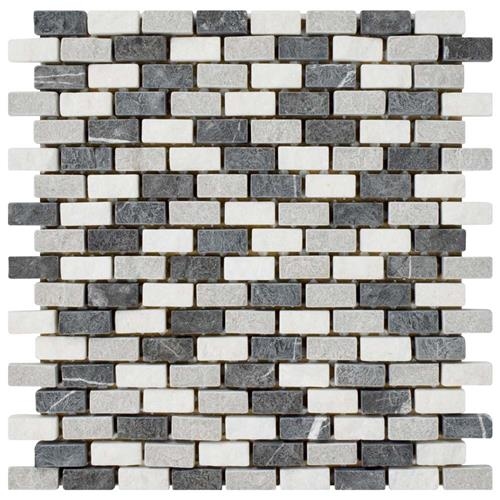 "Griselda Subway Charcoal 11-3/8""x12"" Nat Stone Mos"