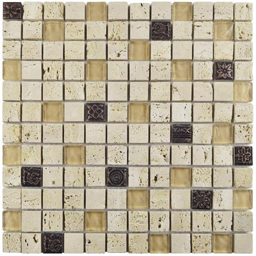 "Cathedral Glouster Beige 12""x12"" Gl/Stone Mos"