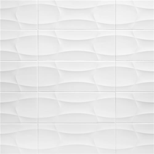 "Nova Blanco Arrow Decor 7-7/8""x19-5/8"" Ceramic W Tile"