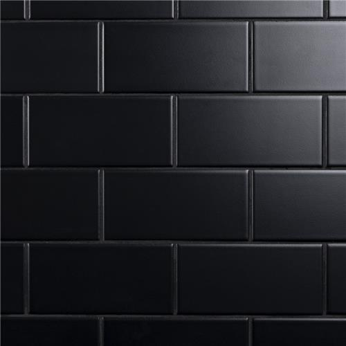 "Crown Heights Matte Black 3""x6"" Ceramic W Tile"