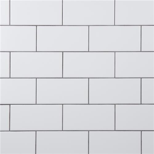 "Crown Heights Matte White 3""x6"" Ceramic W Tile"