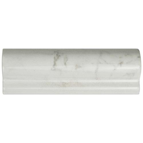 "Classico Carrara Glossy London CR 2""x6"" Ceramic W Trim"