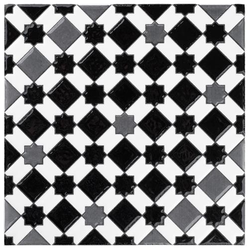 "Sevillano Giralda Dark Grey 7-7/8""x7-7/8"" Ceramic Wall Tile"
