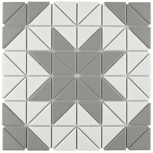 "Picture of Tre Blossom White w/Grey 10-3/4"" x 10-3/4"" Porc Mosaic"