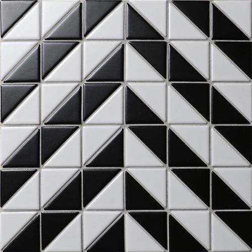 "Picture of Tre Duel Chevron White and Black 10-3/4""x10-3/4"" Porc Mos"