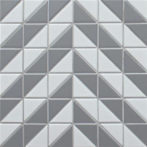 "Picture of Tre Duel Chevron White and Grey 10-3/4""x10-3/4"" Porc Mos"