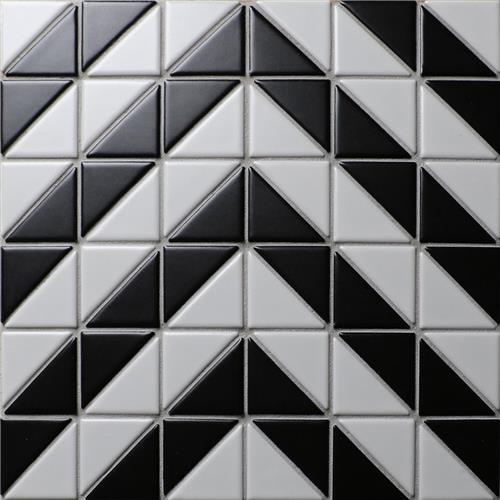 "Picture of Tre Chevron White w/Black 10-3/4"" x 10-3/4"" Porcelain Mosaic"