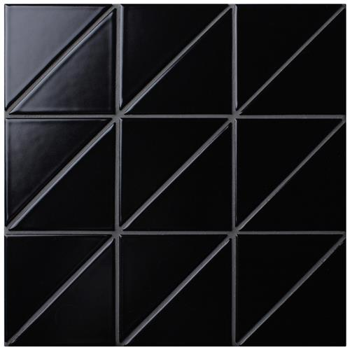 "Picture of Tre Super Iso Matte Black 10-7/8""x10-7/8"" Porcelain Mosaic"