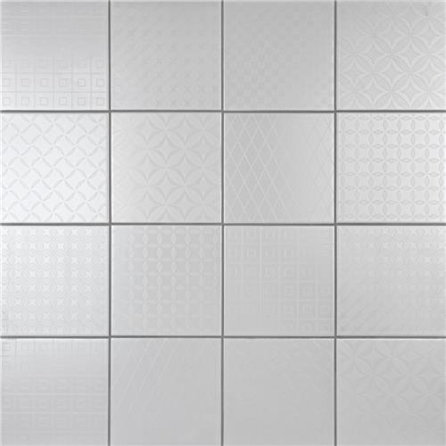 "Picture of Unity Deco White 8"" x 8"" Ceramic Floor/Wall Tile"
