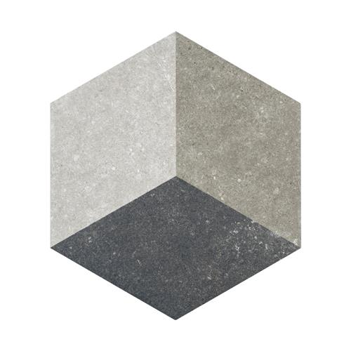 "Picture of Traffic Hex 3D Grey 8-5/8""x9-7/8"" Porcelain F/W Tile"