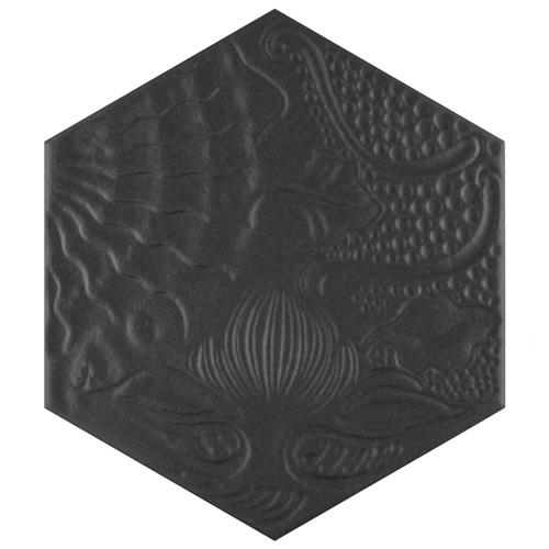 "Picture of Gaudi Hex Black 8-5/8""x9-7/8"" Porcelain F/W Tile"