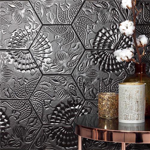 Gaudi Lux Hex Black 8 5 8 X9 7 8 Porcelain Floor Wall Tile