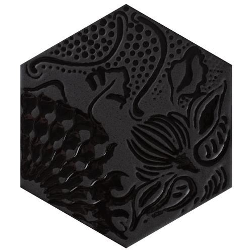 "Picture of Gaudi Lux Hex Black 8-5/8""x9-7/8"" Porcelain Floor/Wall Tile"