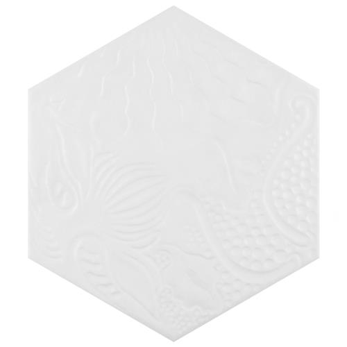 "Picture of Gaudi Hex White 8-5/8""x9-7/8"" Porcelain F/W Tile"