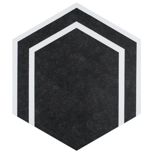 "Picture of Labyrinth Hex Black 8-5/8""x9-7/8"" Porcelain F/W Tile"