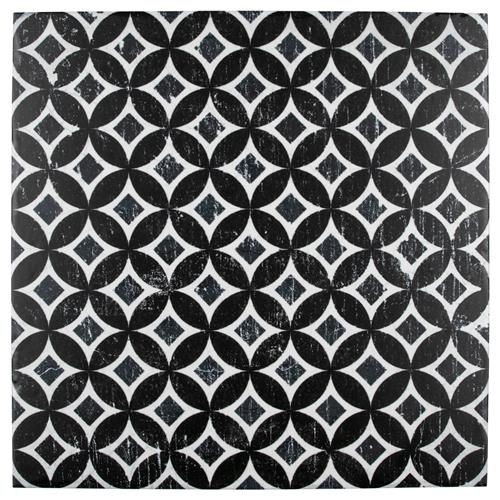 "Picture of Dalia Nero Deco Astro 12-1/8"" x 12-1/8"" Porc F/W Tile"