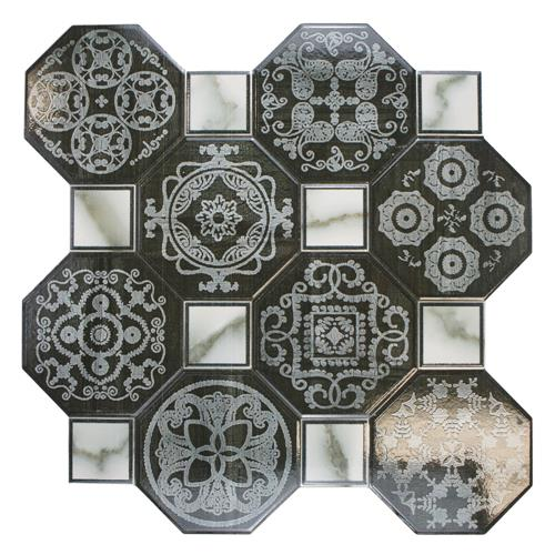 "Picture of 17-3/4""x17-3/4"" Ditte Nero Ceramic Floor Tile"