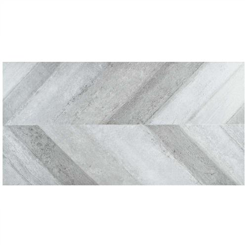 "Picture of Stratos Chevron Gris 17-5/8""x35-3/8"" Porcelain F/W Tile"