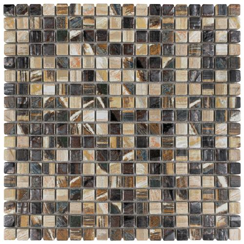 "Picture of 12""x12"" Rustica Mini 9/16"" Highlands Porc. Mosaic Tile Sht"