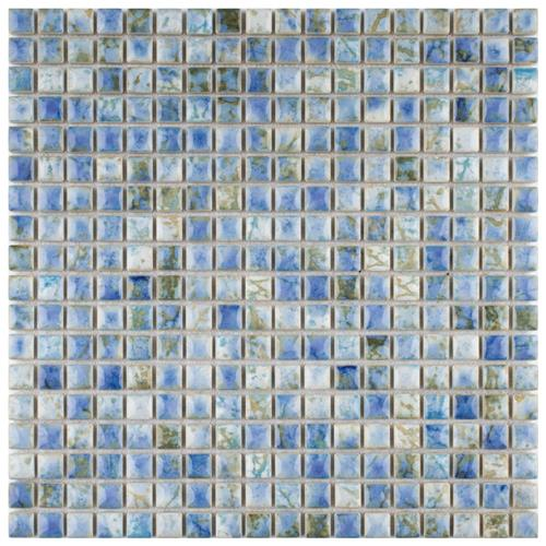 "Picture of 12""x12"" Rustica Mini 9/16"" Neptune Blue Porc. Mosaic Sheet"