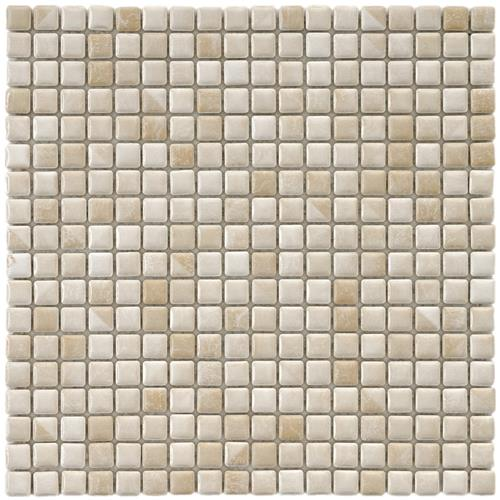 "Picture of 12""x12"" Rustica Mini 9/16"" Perla Bone Porc. Mosaic Tile Sht"