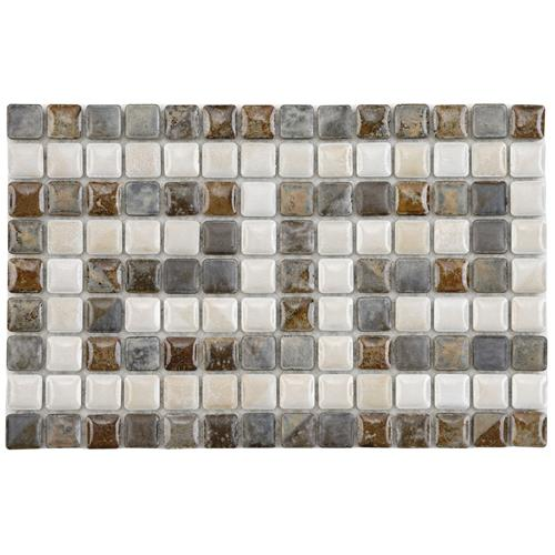 "Picture of 6""x9"" Rustica Greek Key Perla 9/16"" Border Porcelain Mosaic"