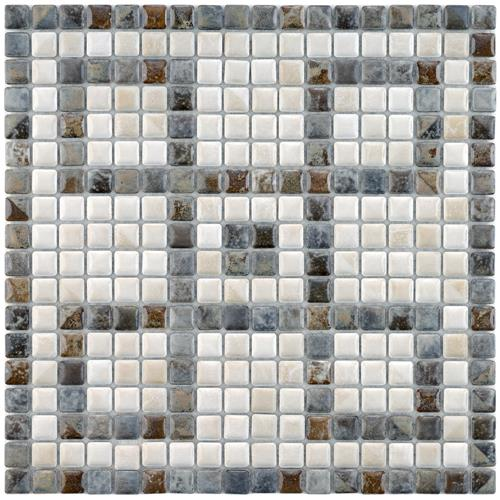 "Picture of 12""x12"" Rustica Greek Key Perla 9/16"" Mural Porcelain Mosaic"